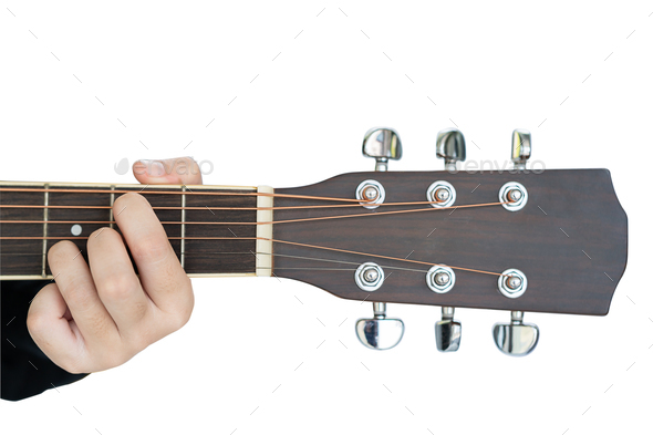 Hands playing guitar on white-6 - Stock Photo - Images