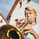 Little boy playing the trumpet - PhotoDune Item for Sale