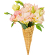 Waffle cone with flower bouquet isolated on white - PhotoDune Item for Sale