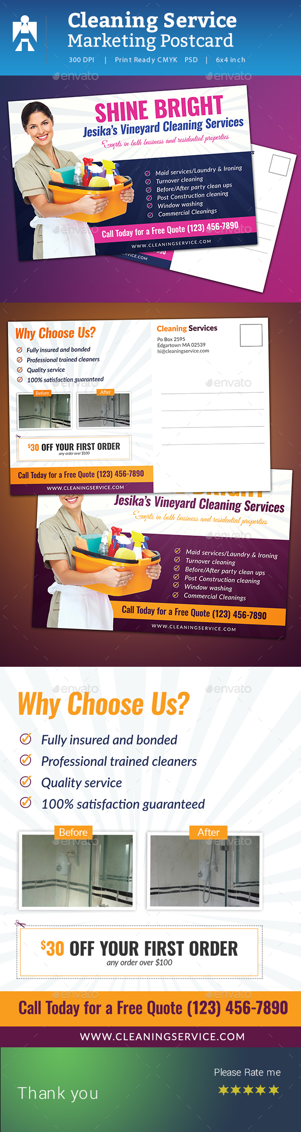 Cleaning Service Postcard - Cards & Invites Print Templates