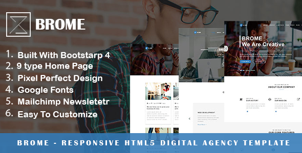 Brome - Responsive Html5 Digital Agency Template - Portfolio Creative