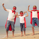 Father and children playing superhero on the beach at the day ti - PhotoDune Item for Sale