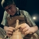 A Man Working at a Pottery, Bottom View - VideoHive Item for Sale