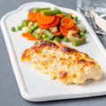 Baked cod fish fillet under cheese, mustard, pepper and cream cr - PhotoDune Item for Sale