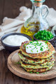 Vegetarian zucchini fritters or pancakes, served with greek yogu - PhotoDune Item for Sale
