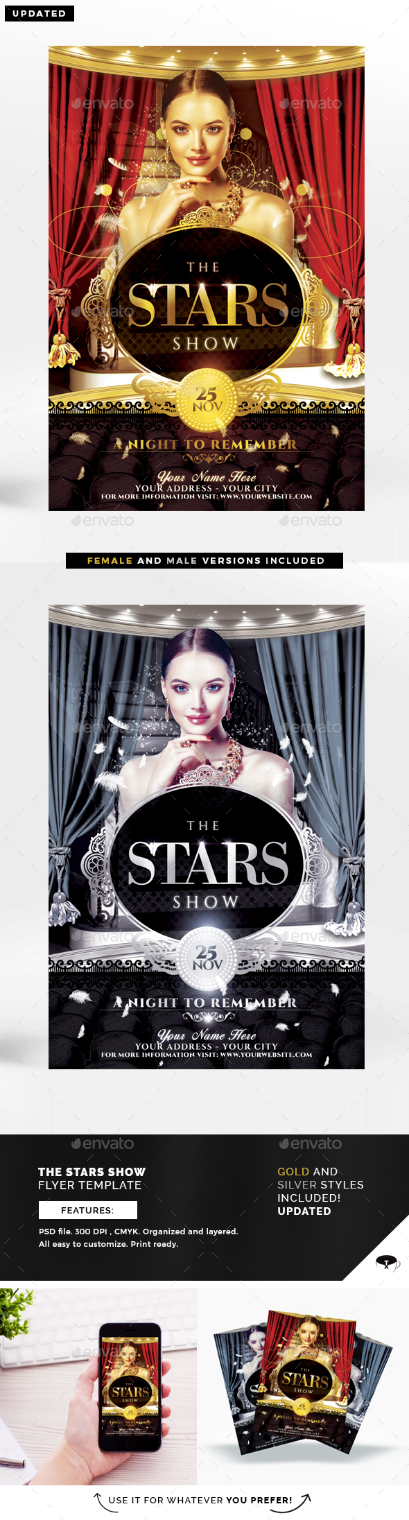 The Stars Show Flyer Template - Clubs & Parties Events