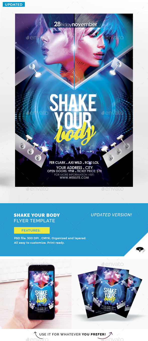 Shake Your Body Flyer Template - Flyers Print Templates