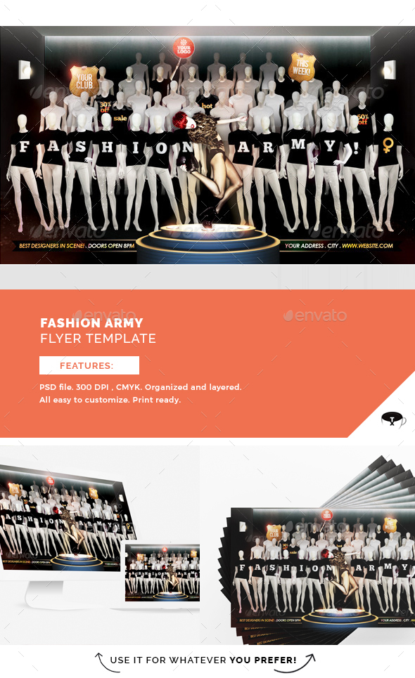Fashion Army Flyer Template - Clubs & Parties Events