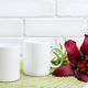 Two coffee mug mockup with maroon lily - PhotoDune Item for Sale