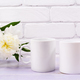 Two coffee mug mockup with ivory peony flower - PhotoDune Item for Sale