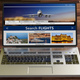 Search flights on a computer laptop screen, isolated on wooden floor, front view. 3d illustration - PhotoDune Item for Sale