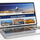 Search flights on a laptop screen, isolated on white backgound. 3d illustration - PhotoDune Item for Sale