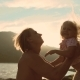 Father Throws His Little Daughter Up at Sunset. . - VideoHive Item for Sale