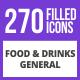 270 Food & Drinks General Filled Blue & Black Icons - GraphicRiver Item for Sale