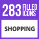 284 Shopping Filled Blue & Black Icons - GraphicRiver Item for Sale