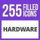 256 Hardware Filled Blue & Black Icons - GraphicRiver Item for Sale