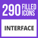 290 Interface Filled Blue & Black Icons - GraphicRiver Item for Sale