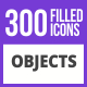 300 Objects Filled Blue & Black Icons