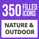 350 Nature & Outdoor Filled Blue & Black Icons - GraphicRiver Item for Sale