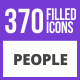 370 People Filled Blue & Black Icons - GraphicRiver Item for Sale