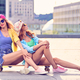 Two Young Girl Friend on Skateboard.Outdoor Urban. - PhotoDune Item for Sale