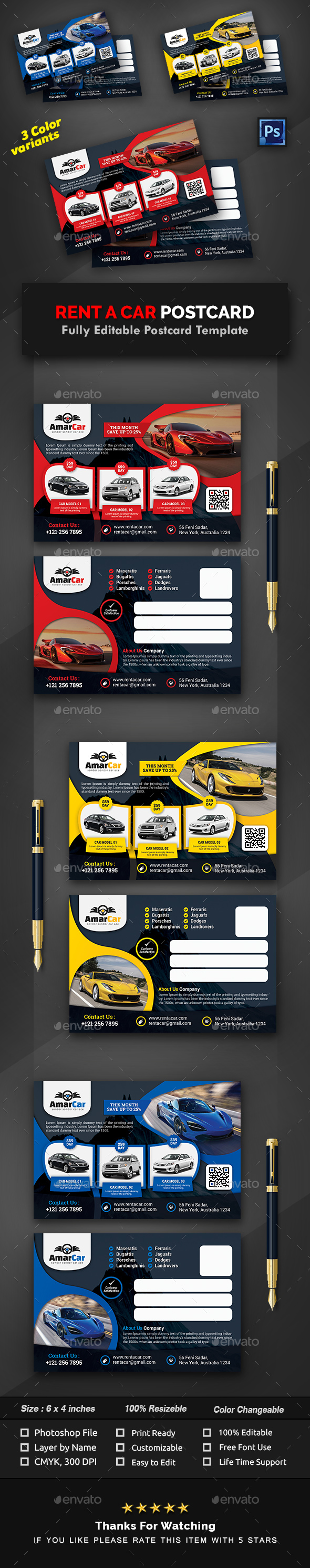 Rent a Car Postcard Templates - Cards & Invites Print Templates