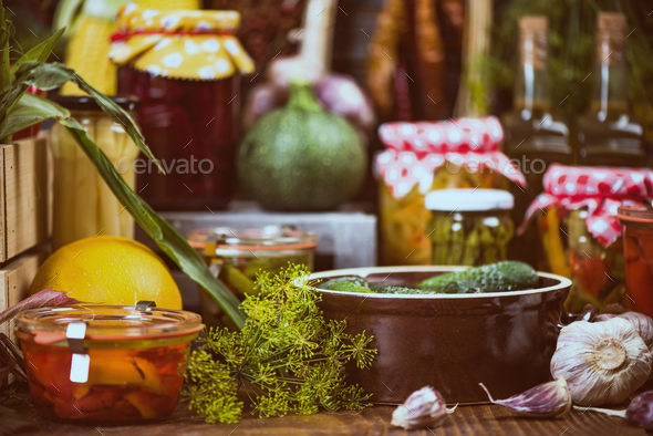 Pickled Marinated and Fermented market fresh food - Stock Photo - Images