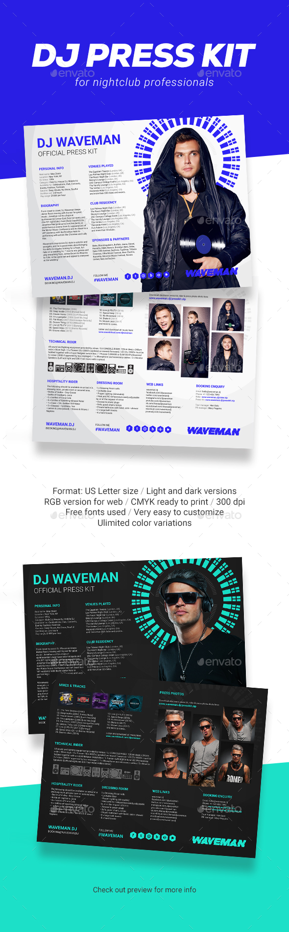 Wave - DJ Press Kit / DJ Resume / DJ Rider PSD Template - Resumes Stationery