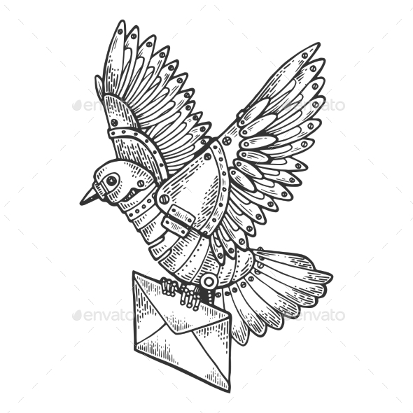 Mechanical Mail Pigeon Bird Animal Engraving - Miscellaneous Vectors