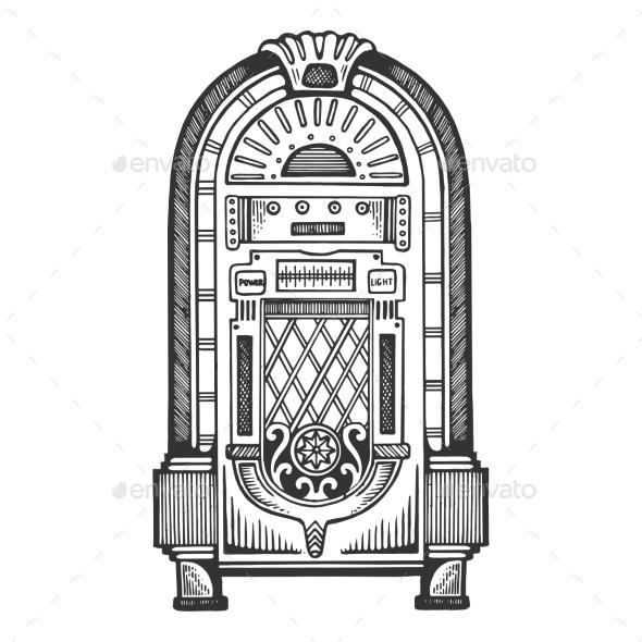 Jukebox Engraving Vector Illustration - Miscellaneous Vectors