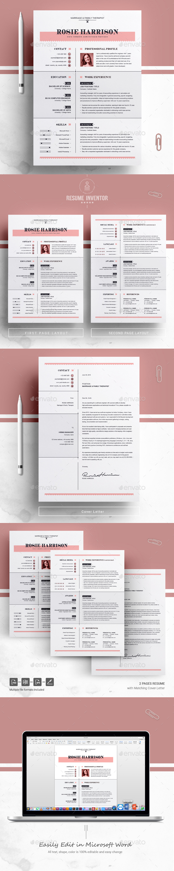 Modern Resume / MS Word Apple Pages CV Template by ResumeInventor ...