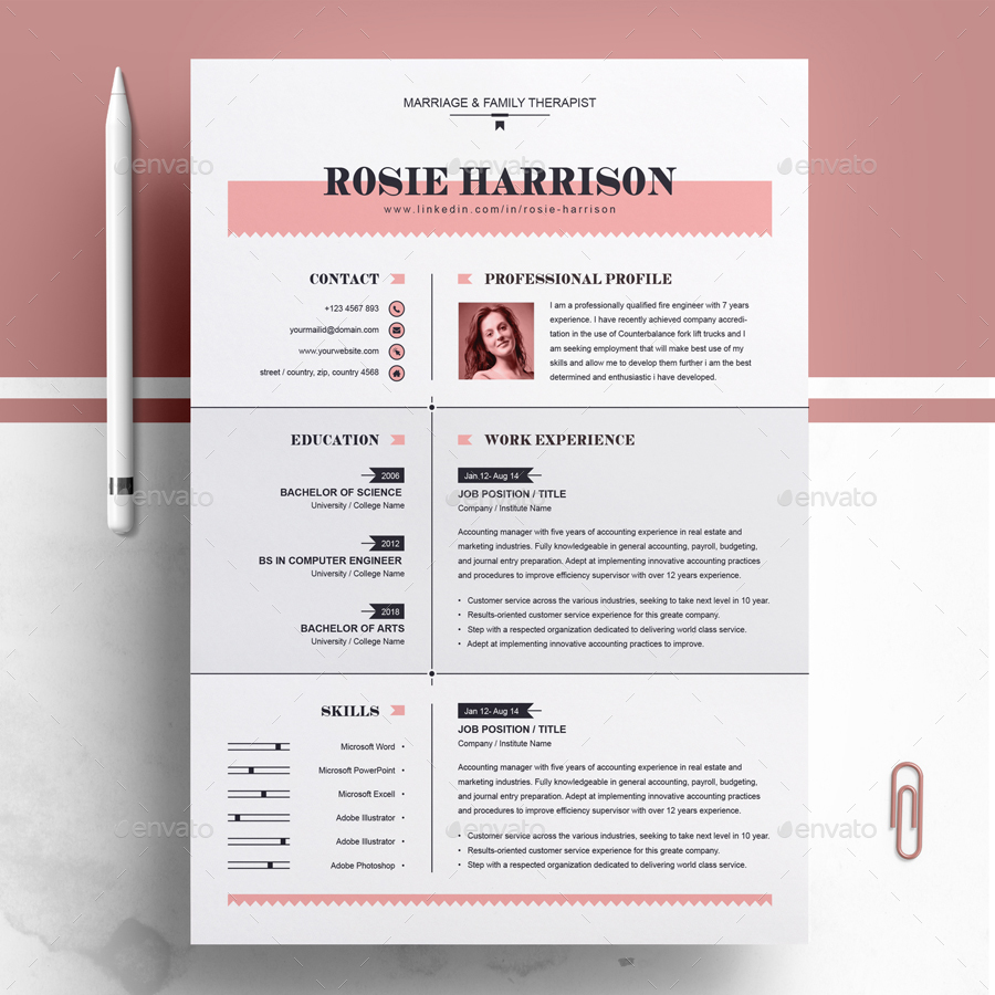 Page Resume 03 Preview Image Set Cover Letter Three 04 MS Word Editable