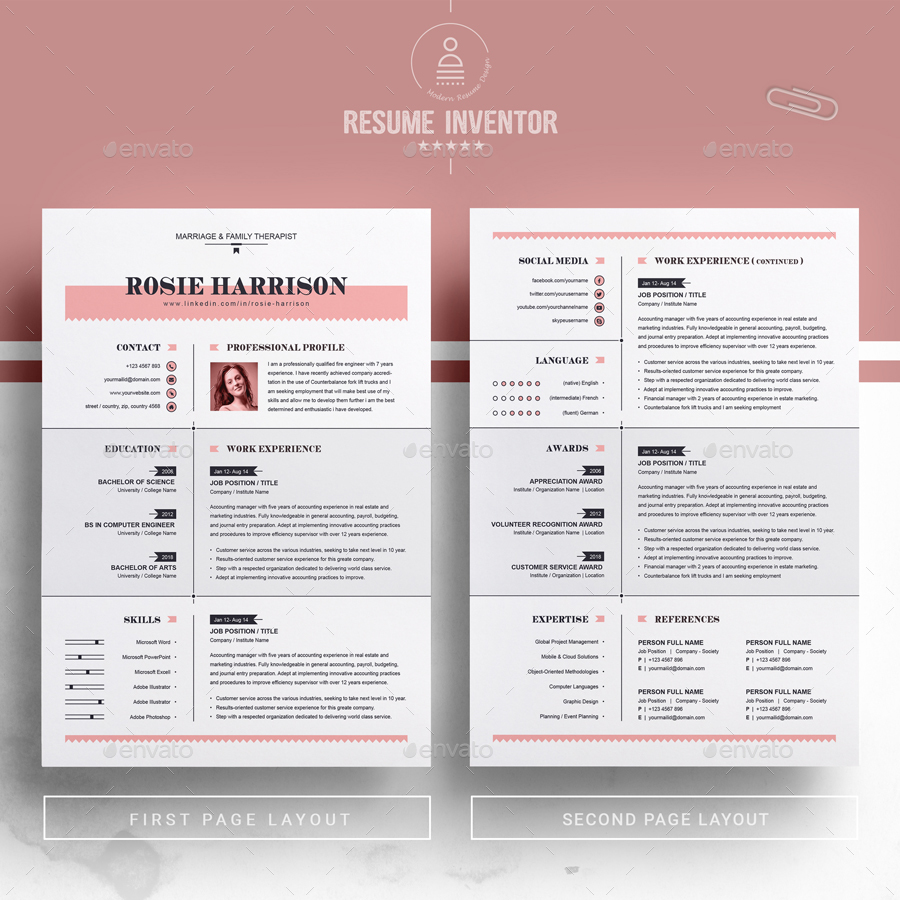 modern resume    ms word apple pages cv template by resumeinventor
