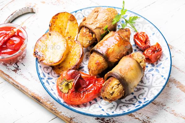 Turkish dish of eggplant parmak-koft - Stock Photo - Images