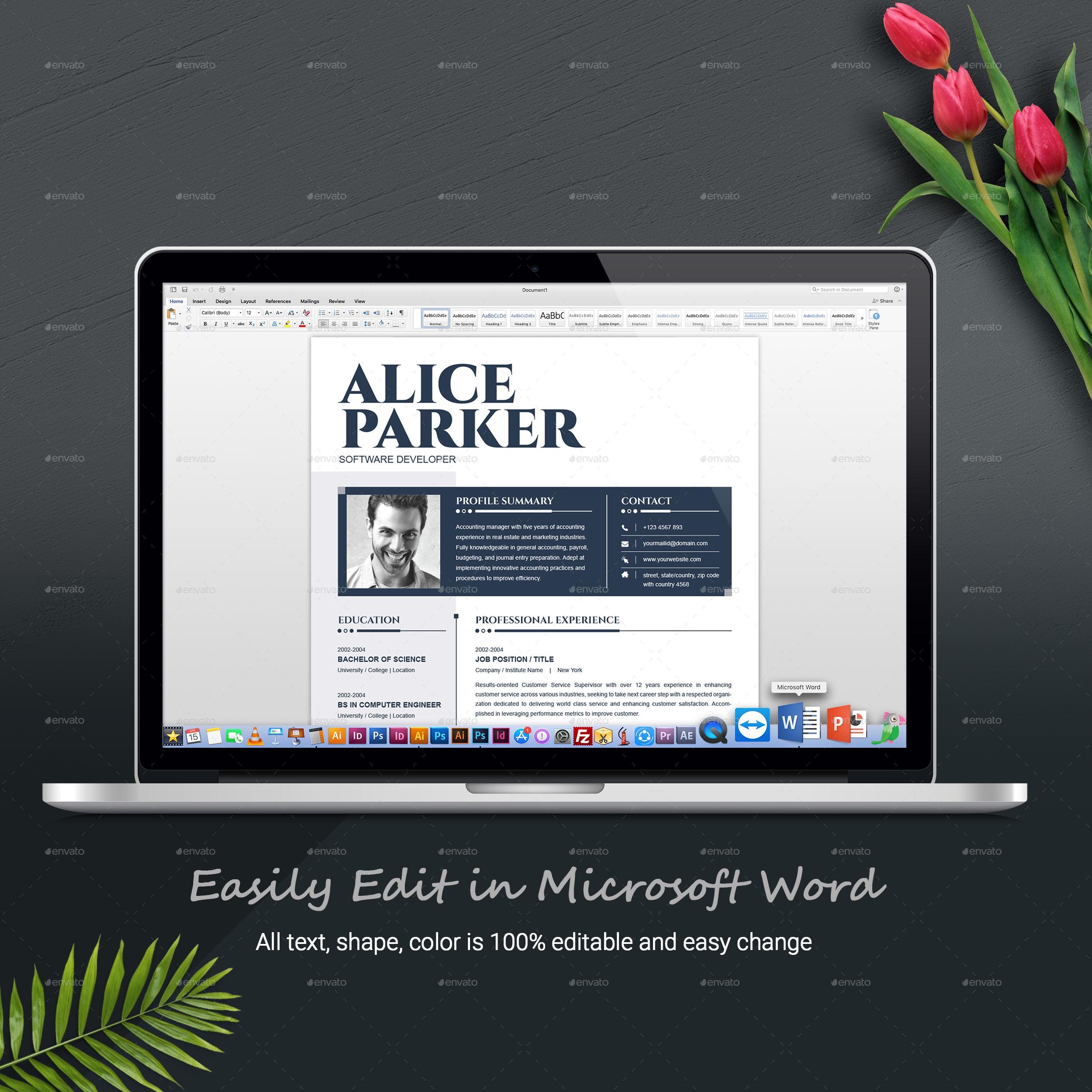 CV Template | Resume Template | CV Design + Cover Letter for ...