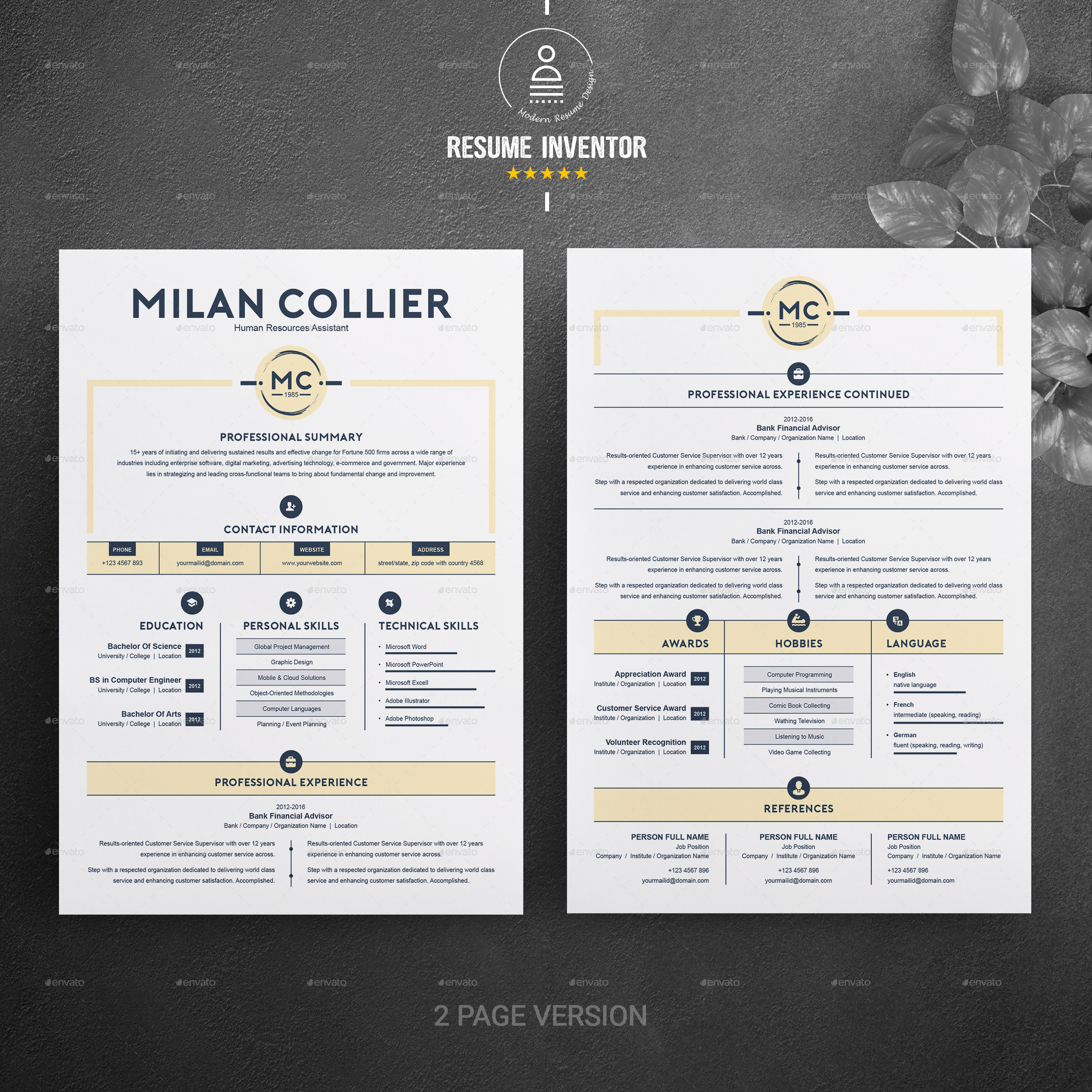 ... 03_Preview Image Set/05_Free Resume Template Reference Page  No 04 Design Template Copy ...
