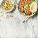 Vegan dinner bowl with avocado, grains, beans, vegetables, copy space - PhotoDune Item for Sale