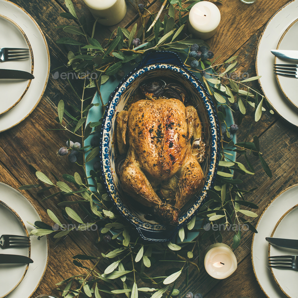 Flat-lay of whole roasted chicken for Christmas, square crop - Stock Photo - Images