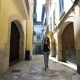 Rear View Tourist Woman Walking Narrow Streets of Barcelona Wearing Cute Summer Dress Enjoying - VideoHive Item for Sale