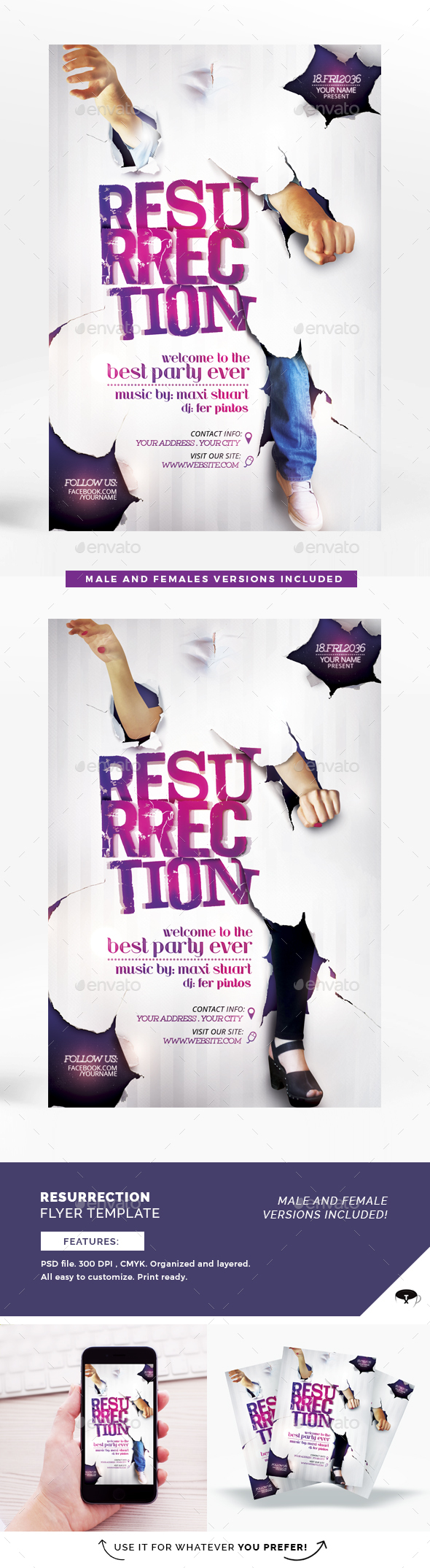 Resurrection Flyer Template - Clubs & Parties Events