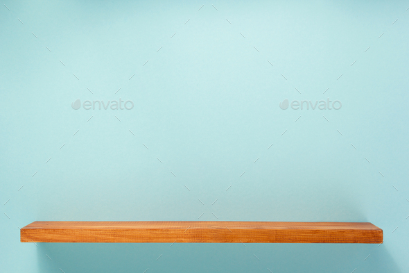 woden shelf at abstract wall background - Stock Photo - Images