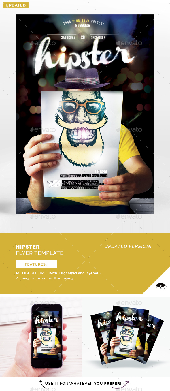 Hipster Flyer Template - Flyers Print Templates