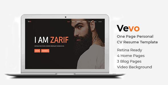 Image of Vevo - One Page Personal Portfolio Cv Resume Template