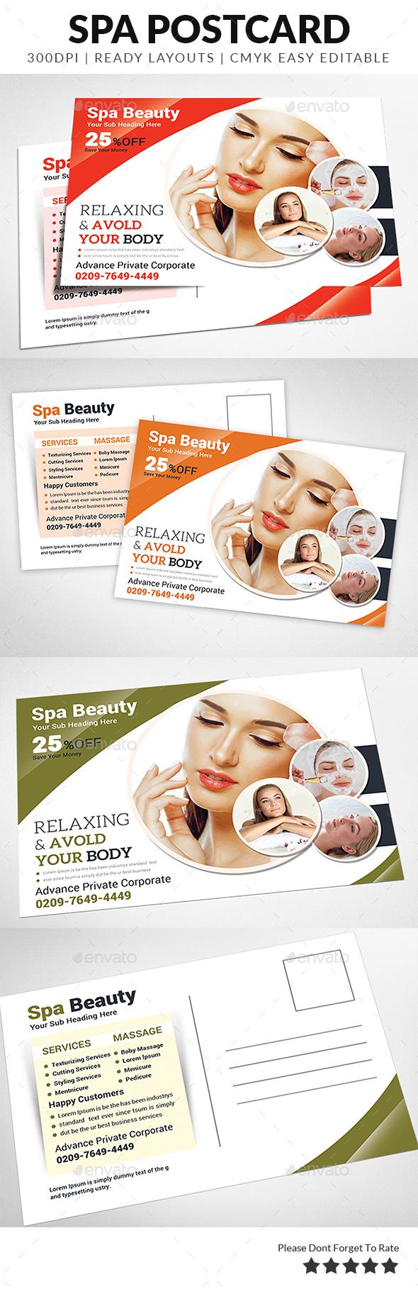 Spa Postcard - Cards & Invites Print Templates
