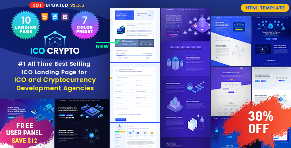 ICO Crypto - Bitcoin & Cryptocurrency ICO Landing Page HTML Template + User Dashboard - Technology Site Templates
