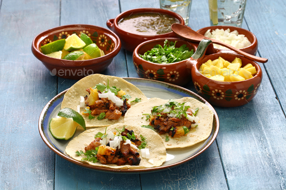 tacos al pastor, mexican food - Stock Photo - Images