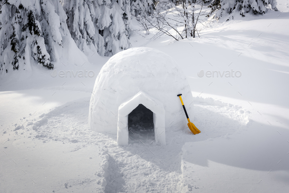 Real snow igloo house in the winter Carpathian mountains - Stock Photo - Images