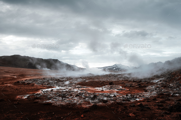 Smoking fumaroles on Hverarond valley - Stock Photo - Images