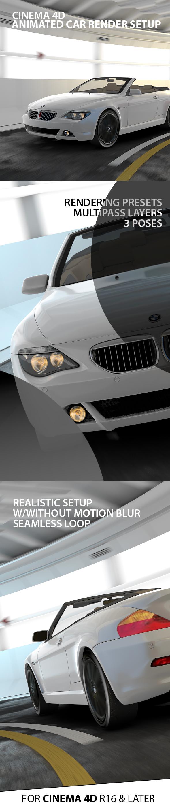 Animated Tunnel Car Render Setup - 3DOcean Item for Sale