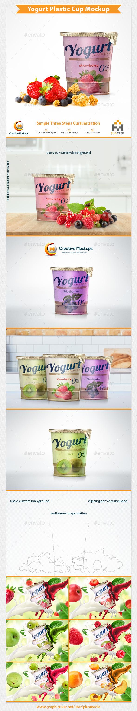 Yogurt Plastic Cup Mockup - Product Mock-Ups Graphics